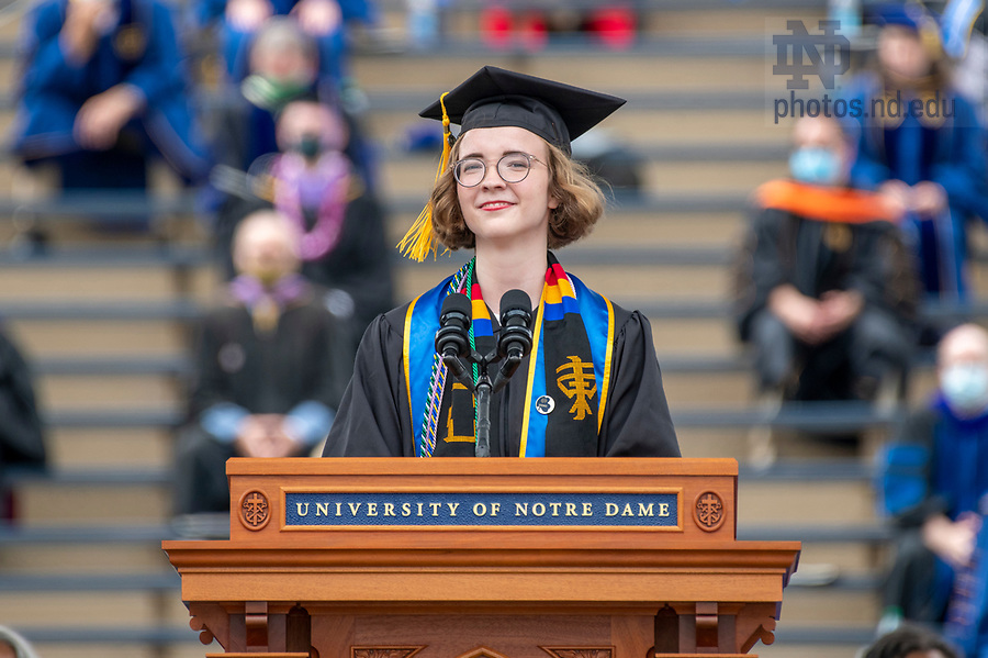 May 23, 2021; Salutatorian Alexis Waldschmidt delivers the invocation at the 176th Commencement Ceremony in Notre Dame Stadium. (Photo by Barbara Johnston/University of Notre Dame)