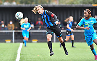 Brugge's Ellen Martens pictured winning the header from Union's Veronique Zang Bikoula during a female soccer game between the women teams of Club Brugge YLA Dames and Union Saint-Ghislain Tertre-Hautrage Ladies on the 1/16 th qualifying round for the Belgian Womens Cup 2020  2021 , on saturday 26 th of September 2020  in Brugge , Belgium . PHOTO SPORTPIX.BE | SPP | DAVID CATRY