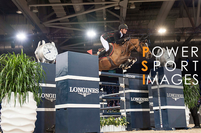 Nicola Philippaerts of Belgium riding Ustina Sitte competetes during the Hong Kong Jockey Club Trophy competition, part of the Longines Masters of Hong Kong on 10 February 2017 at the Asia World Expo in Hong Kong, China. Photo by Marcio Rodrigo Machado / Power Sport Images