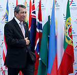 17/10/2014, Milan - ASIA EUROPE MEETING - ASEM 10 MILAN 2014.<br /> Indonesia's Foreign Affairs minister Dian Triansyah Djani leaves the 10th Asia-Europe Meeting (ASEM) on October 17, 2014 in Milan. The Asia-Europe Meeting (ASEM) was created in 1996 as a forum for dialogue and cooperation between Europe and Asia. It's held every two years alternatively in Asia and Europe.