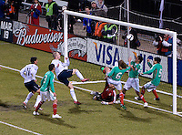 Michael Bradley in white scores a first half goal against Mexico during  the World Cup Qualifier played at Columbus Crew Stadium, Columbus, Ohio on Feb. 11, 2009. The US won the match 2-0 before more than 23,000 fans. Photo by Bill Vieth/isiphotos.com