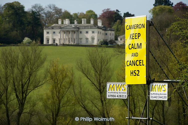 Anti-HS2 roadside posters in Buckinghamshire.