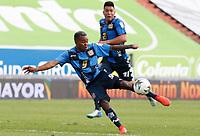 MANIZALES - COLOMBIA, 05-12-2020: Edinson Palomino del Chicó durante partido por la fecha 2 de la Liguilla BetPlay DIMAYOR 2020 entre Once Caldas y Boyacá Chicó F.C. jugado en el estadio Palogrande de la ciudad de Manizalez. / Edinson Palomino of Chico during match for the date 2 as part of BetPlay DIMAYOR 2020 Liguilla between Once Caldas and Boyaca Chico F.C. played at the Palogrande stadium in Manizales city. Photo: VizzorImage / John Jairo Bonilla / Cont