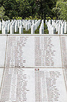 07.06.2013, Potocari ( Srebrenica ) Bosnia Herzegovina<br /> Memorial Center. <br /> Vista del Memorial center e del cimitero . <br /> L'esercito Serbo, comandato da Ratko Mladic, nel 1995 ha massacrato a Srebrenica circa 8.000 tra uomini e ragazzi Musulmani, la piu' grande atrocita' commessa in Europa dalla seconda guerra mondiale. <br /> Foto Insidefoto / EXPA/ Juergen Feichter
