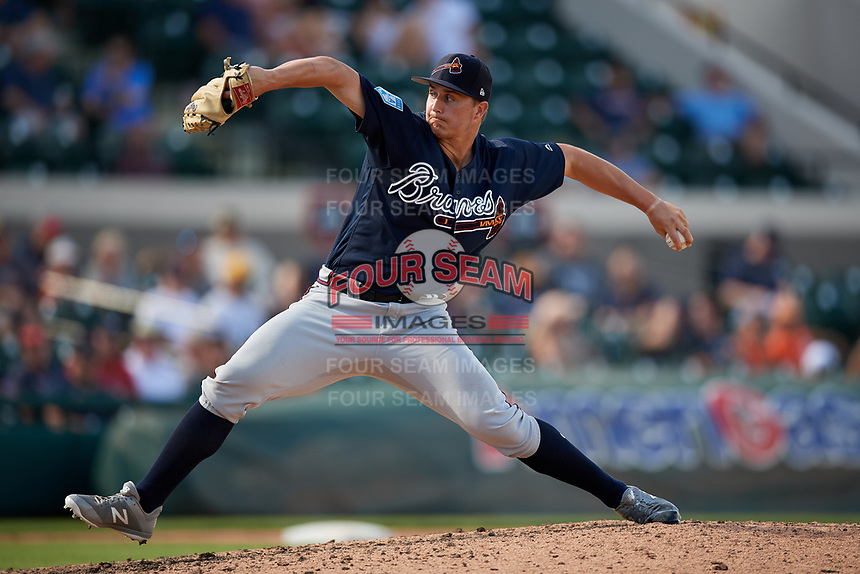 Atlanta Braves relief pitcher Tucker Davidson (84) delivers a pitch during a Grapefruit League Spring Training game against the Detroit Tigers on March 2, 2019 at Publix Field at Joker Marchant Stadium in Lakeland, Florida.  Tigers defeated the Braves 7-4.  (Mike Janes/Four Seam Images)