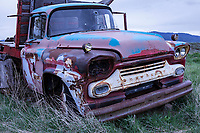 A 1959 Chevrolet 2 Ton Truck sits abandoned in a field in Hill City, Idaho.