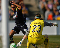 Marta Vieira da Silva (10) of the Los Angeles Sol is stopped by goalkeeper Jenni Branam (23) of Sky Blue FC. The Los Angeles Sol defeated Sky Blue FC 2-0 during a Women's Professional Soccer match at TD Bank Ballpark in Bridgewater, NJ, on April 5, 2009. Photo by Howard C. Smith/isiphotos.com