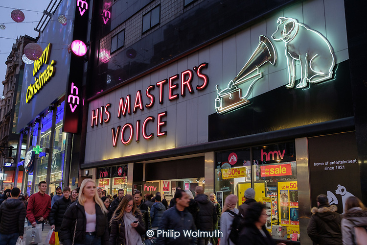HMV His Master's Voice flagship Oxford Street store holds end of year sales, as the company enters its second period of administration, London.