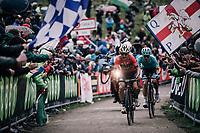 Domenico Pozzovivo (ITA/Bahrain-Merida) & Miguel Angel Lopez (COL/Astana) up the infamous Monte Zoncolan (1735m/11%/10km)<br /> <br /> stage 14 San Vito al Tagliamento – Monte Zoncolan (186 km)<br /> 101th Giro d'Italia 2018