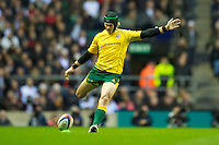 Berrick Barnes of Australia takes a penalty kick during the Cook Cup between England and Australia, part of the QBE International series, at Twickenham on Saturday 17th November 2012 (Photo by Rob Munro)