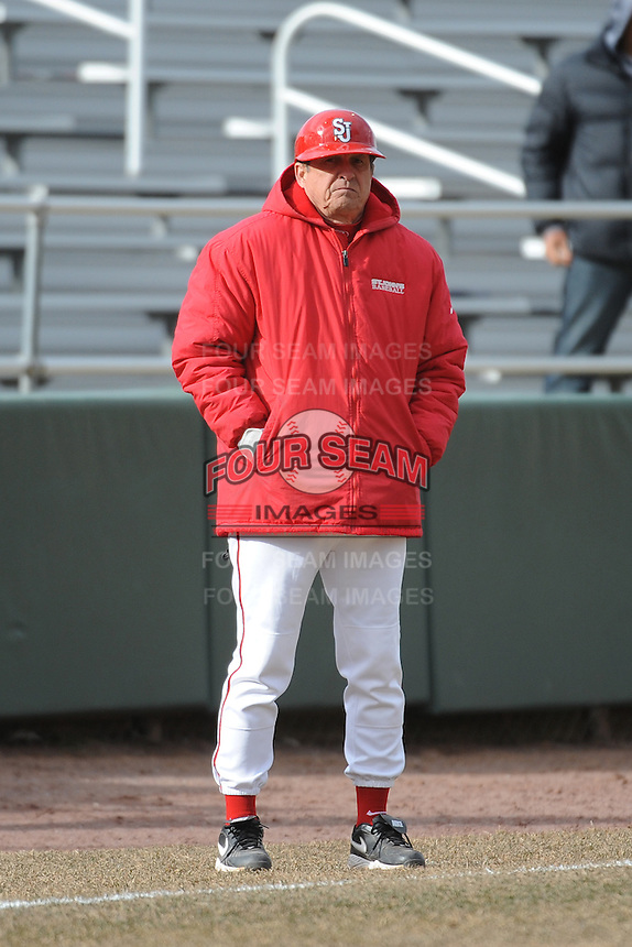 St. John's Redstorm Head Coach Ed Blankmeyer  during game against the University of Pittsburgh at Jack Kaiser Stadium on March 22, 2013 in Queens, New York.  Pittsburgh defeated St. John's 12-9.  (Tomasso DeRosa/Four Seam Images)