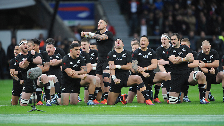 TJ Perenara of New Zealand leads the Haka before the Quilter International match between England and New Zealand at Twickenham Stadium on Saturday 10th November 2018 (Photo by Rob Munro/Stewart Communications)