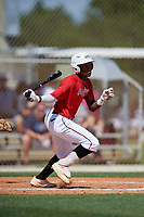 Marcerio Allen during the WWBA World Championship at the Roger Dean Complex on October 18, 2018 in Jupiter, Florida.  Marcerio Allen is a shortstop from Dacula, Georgia who attends Dacula High School and is committed to Kennesaw State.  (Mike Janes/Four Seam Images)