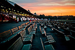 SARATOGA SPRINGS, NY - AUGUST 25: A view of the stands on the main track at sunrise on Travers Stakes Day at Saratoga Race Course on August 25, 2018 in Saratoga Springs, New York. (Photo by Scott Serio/Eclipse Sportswire/Getty Images)