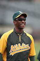 OAKLAND, CA - APRIL 25:  Coach Rickey Henderson of the Oakland Athletics watches batting practice before the game against the Chicago White Sox at O.co Coliseum on Wednesday April 25, 2012 in Oakland, California. Photo by Brad Mangin
