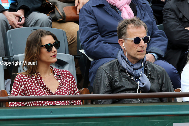 Charles Berling watching tennis during Roland Garros tennis open 2016 on may 24 2016.