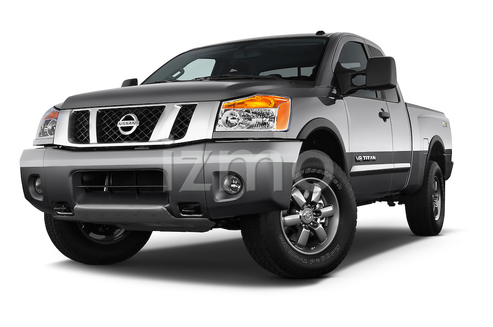 Stock pictures of low aggressive front three quarter view of a 2014 Nissan Titan PRO 4-X King Cab 2WD 2 Door Truck Low Aggressive