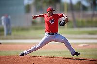Washington Nationals pitcher David Ramos (59) delivers a pitch during a minor league Spring Training game against the St. Louis Cardinals on March 27, 2017 at the Roger Dean Stadium Complex in Jupiter, Florida.  (Mike Janes/Four Seam Images)