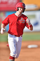 Johnson City Cardinals second baseman Andrew Brodbeck (3) rounds the bases after hitting a home run during a game against the Elizabethton Twins at Howard Johnson Field at Cardinal Park on June 26, 2016 in Johnson City, Tennessee. The Twins defeated the Cardinals 13-12. (Tony Farlow/Four Seam Images)