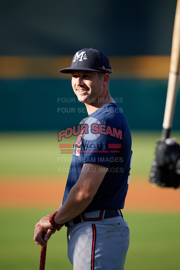 Mississippi Braves  during batting practice before a game against the Montgomery Biscuits on April 24, 2017 at Montgomery Riverwalk Stadium in Montgomery, Alabama.  Montgomery defeated Mississippi 3-2.  (Mike Janes/Four Seam Images)
