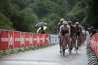 Jasper Stuyven (BEL/Trek-Segafredo) up 'Le Petit Poggio' in the rain<br /> <br /> Belgian National Road Cycling Championships 2016<br /> Les Lacs de l'Eau d'Heure