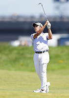 16th July 2021; Royal St Georges Golf Club, Sandwich, Kent, England; The Open Championship Tour Golf, Day Two; Collin Morikawa (USA) hits a short iron to the green on the 18th hole