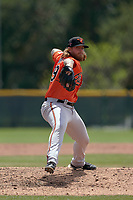 Baltimore Orioles pitcher Nick Vespi (99) during a Minor League Spring Training game against the Pittsburgh Pirates on April 21, 2021 at Pirate City in Bradenton, Florida.  (Mike Janes/Four Seam Images)