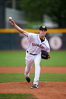 Erie Seawolves pitcher Derek Hankins (12) delivers a pitch during a game against the Richmond Flying Squirrels on May 19, 2015 at Jerry Uht Park in Erie, Pennsylvania.  Richmond defeated Erie 8-5.  (Mike Janes/Four Seam Images)