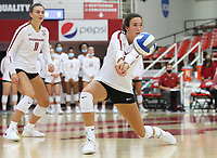 Arkansas Sophomore Taylor Head (7) bumps ball against Auburn on Sunday, Oct. 10, 2021, during play at Barnhill Arena, Fayetteville. Visit nwaonline.com/211011Daily/ for today's photo gallery.<br /> (Special to the NWA Democrat-Gazette/David Beach)