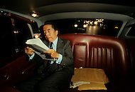 Hong Kong, China - September 25, 1981. Picture of Y.K. Pao taken on his way home at night, in his Silver Cloud Rolls-Royce. Y.K. Pao (November 10, 1918 - September 23, 1991) was founder of the World-Wide Shipping Group that by the mid 1970's had become the largest shipping company in the world.