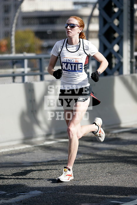 Katie McGregor (USA) during the 2008 ING New York City Marathon on the Madison Avenue Bridge connecting the Bronx to Manhattan on November 2, 2008 in New York City, New York.  The racers enter Manhattan for the final time as they approach mile 21 on the course.  Paula Radcliffe (GBR) won the race with a time of 2:23.56.