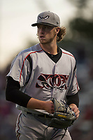 Lake Elsinore Storm starting pitcher Chris Paddack (25) walks off the field between innings of a California League game against the Modesto Nuts at John Thurman Field on May 12, 2018 in Modesto, California. Lake Elsinore defeated Modesto 4-1. (Zachary Lucy/Four Seam Images)
