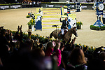 Patrice Delaveau of France riding Aquila HDC celebrates winning the Longines Grand Prix during the Longines Masters of Hong Kong at AsiaWorld-Expo on 11 February 2018, in Hong Kong, Hong Kong. Photo by Zhenbin Zhong / Power Sport Images