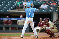 Logan Warmoth (7) of the North Carolina Tar Heels at bat against the Florida State Seminoles in the 2017 ACC Baseball Championship Game at Louisville Slugger Field on May 28, 2017 in Louisville, Kentucky. The Seminoles defeated the Tar Heels 7-3. (Brian Westerholt/Four Seam Images)