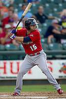 Oklahoma City RedHawks second baseman Jose Martinez (15) at bat during the Pacific Coast League baseball game against the Round Rock Express on July 9, 2013 at the Dell Diamond in Round Rock, Texas. Round Rock defeated Oklahoma City 11-8. (Andrew Woolley/Four Seam Images)