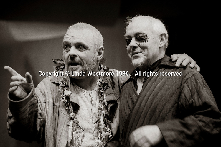 """King Lear (Anthony Hopkins) and Earl of Gloucester (Michael Bryant) in  """"King Lear"""" by William Shakespeare at the National Theatre, London 1986.  Directed by David Hare and designed by Hayden Griffin."""