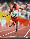 Earle Connor of Calgary wins the men's 100 metres  at the Paralympic Games in Beijing, Sunday, Sept., 14, 2008.  Photo by Mike Ridewood/CPC