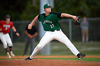 Dartmouth Big Green relief pitcher Carson Seymour (37) delivers a pitch during a game against the Northeastern Huskies on March 3, 2018 at North Charlotte Regional Park in Port Charlotte, Florida.  Northeastern defeated Dartmouth 10-8.  (Mike Janes/Four Seam Images)