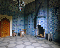 The Turkish Room at Sledmere with walls decorated in blue and white tiles