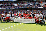 Real Madrid´s players and Liverpool´s players during 2015 Corazon Classic Match between Real Madrid Leyendas and Liverpool Legends at Santiago Bernabeu stadium in Madrid, Spain. June 14, 2015. (ALTERPHOTOS/Victor Blanco)