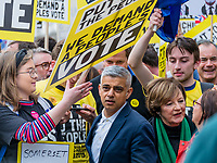 London, UK - March 23 2019: the London mayor Sadiq Khan during the demonstration the people Brexit march for people's vote protest. Photo Adamo Di Loreto/BuenaVista*photo