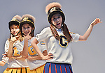 """CRAYON POP, July 22, 2015 : Ellin, Gum-Mi, Cho-A, Korean girl group Crayon Pop perform during the promotion event for their new single """"ra ri ru re"""" at Lazona Kawasaki Plaza in Kawasaki, kanagawa prefecture, Japan, on July 22, 2015. They performed the opening act for Lady Gaga's """"ArtRave: The Artpop Ball concert tour"""" in twelve cities across North America on 2014."""