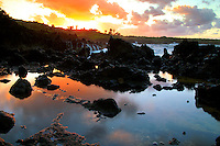 Sunset at Waianapanapa State Park, Maui, Hawaii.