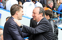 Pictured: Micheal Laudrup is welcomed to Stamford bridge by Rafa Benitez<br /> Barclays Premier League, Chelsea FC (blue) V Swansea City,<br /> 28/04/13