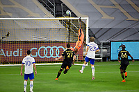 LOS ANGELES, CA - SEPTEMBER 02: Daniel Vega #17 GK of the San Jose Earthquakes reaches for a ball during a game between San Jose Earthquakes and Los Angeles FC at Banc of California stadium on September 02, 2020 in Los Angeles, California.
