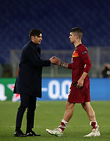 Football Soccer: Europa League -Round of 16 1nd leg AS Roma vs FC Shakhtar Donetsk, Olympic Stadium. Rome, Italy, March 11, 2021.<br /> Roma's coach Paulo Fonseca (L) celebrates with Gianluca Mancini (R) after winning 3-0 the Europa League football soccer match between Roma and  Shakhtar Donetsk at Olympic Stadium in Rome, on March 11, 2021.<br /> UPDATE IMAGES PRESS/Isabella Bonotto