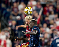 FOXBOROUGH, MA - SEPTEMBER 21: Kelyn Rowe #6 of Real Salt Lake and Wilfried Zahibo #23 of New England Revolution battle for head ball during a game between Real Salt Lake and New England Revolution at Gillette Stadium on September 21, 2019 in Foxborough, Massachusetts.