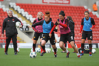 Martha Harris (Manchester United Women) and Jessica Sigworth (Manchester United Women) during the English Womens Championship match between Manchester United Women and Leicester City Women at Leigh Sports Village, Leigh, England on 10 March 2019. Photo by James Gill / PRiME Media Images.