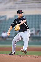 Hickory Crawdads starting pitcher Reid Anderson (6) in action against the Kannapolis Intimidators in game two of a double-header at Kannapolis Intimidators Stadium on May 19, 2017 in Kannapolis, North Carolina.  The Intimidators defeated the Crawdads 9-1.  (Brian Westerholt/Four Seam Images)
