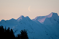 Moon set over the Kenai Mountains, Alaska.